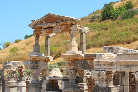 Ruins of an antique building in an antique city the Ephesus photo