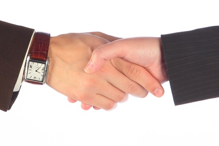 Hand shake of the business man and the woman Stock Photo - 10712489