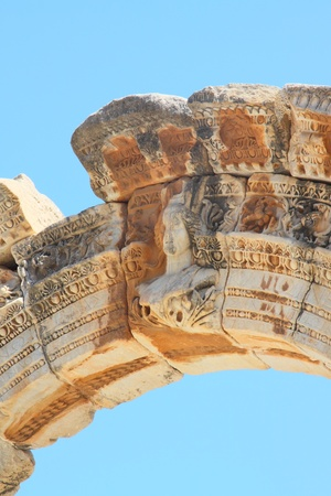 brothel: fragment Temple of Hadrian in an antique city the Ephesus Stock Photo