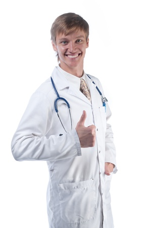 The young doctor in a white dressing gown Stock Photo - 10724970