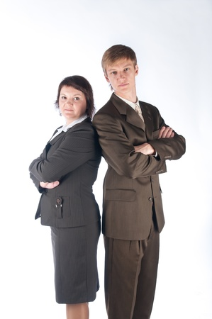 The man and the woman in strict business suits photo