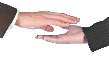Contact of man's and female hands photo