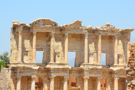 Roman Library of Celsus in an antique city the Ephesus photo