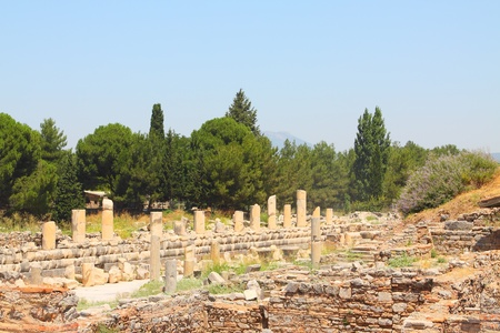 brothel: Ruins of a temple of Aphrodite in an antique city the Ephesus