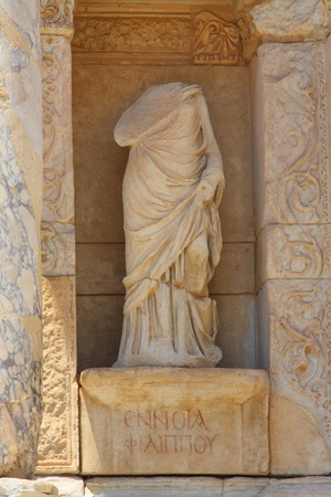 Antique statue in Celsus library in an antique city the Ephesus photo