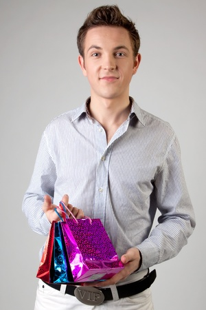 Portrait of a young man in formal attire with a New Year Stock Photo - 12008612