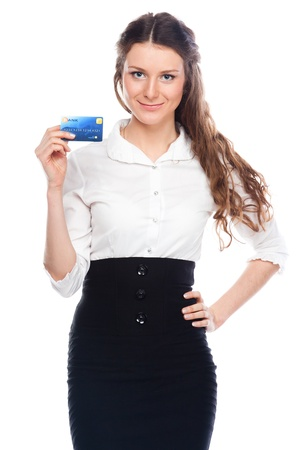 Young and beautiful girl with a credit card in the hands of blue Stock Photo - 12599127