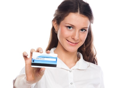 Young and beautiful girl with a credit card in the hands of blue Stock Photo - 12599237
