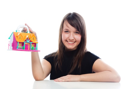 ure: portrait of a young and beautiful girl with the layout of a country house Stock Photo