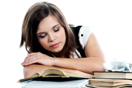 Portrait of a young and beautiful girl student who is preparing for exams Stock Photo - 12893439