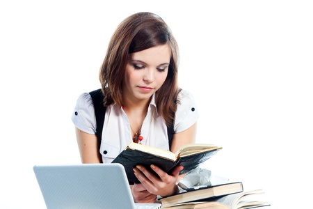 Portrait of a young and beautiful girl student who is preparing for exams Stock Photo - 12893422