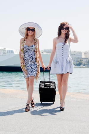 Two girls in the background of the ocean liner Stock Photo - 13633426
