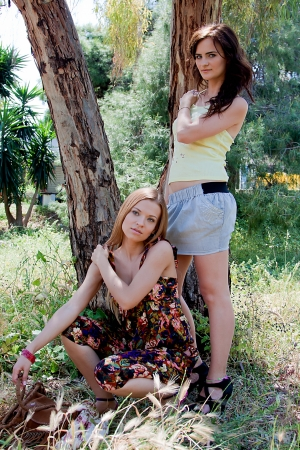 Two young and beautiful woman in the park Stock Photo - 13947379