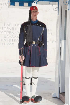 Evzones Guards near the Greek parliament where demonstrations against financial crisis are taking place everyday in Athens, Greece