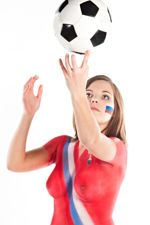 Girl with a stylized form of body art Russian football team photo