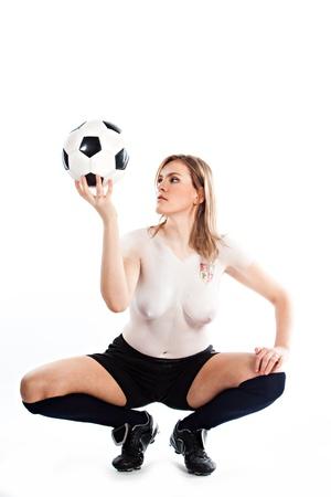 football team: Girl with bodyart stylized form the Czech Republic national football team