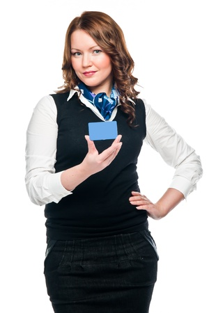 young and beautiful business woman with credit card photo