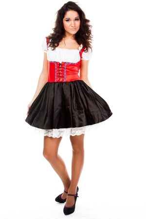 young and beautiful woman in a traditional Bavarian dress photo