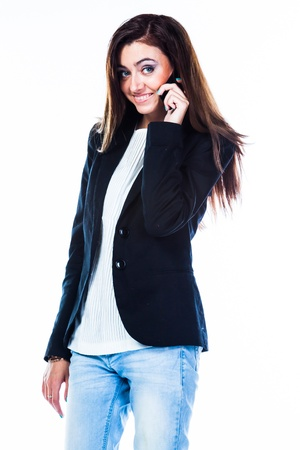 beautiful and young woman on the phone photo