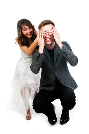closes eyes: man woman closes eyes with his hands Stock Photo