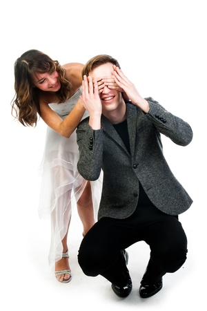 closes eyes: man woman closes eyes with his hands Stock Photo