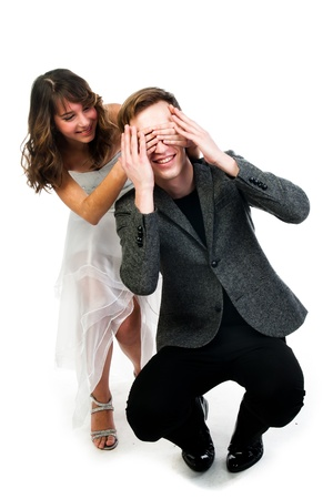 man woman closes eyes with his hands photo