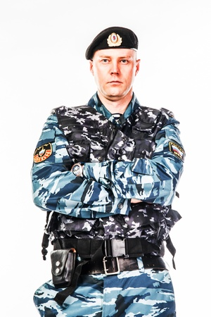 police special squad officer in full ammunition Stock Photo