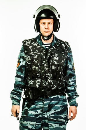 police special squad officer in full ammunition photo
