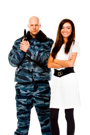 police officer and a young beautiful woman photo