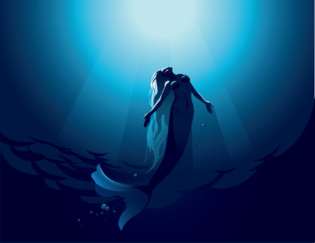 Vector illustration of a beautiful mermaid in water depth