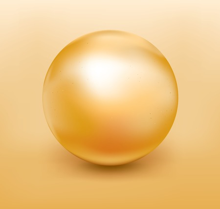 Vector illustration of a golden pearl with soft shadow Çizim