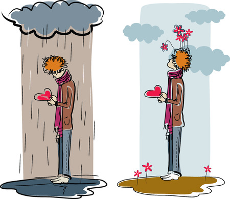 feelings of happiness: Vector illustration of a redhead man with a heart in hands standing under rain