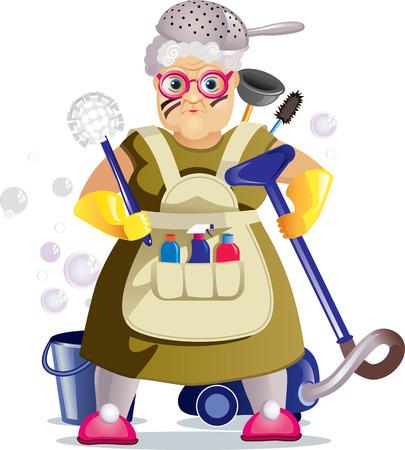 Vector illustratie van een oude vrouw met huishoudelijke voorwerpen gaan op een oorlog met vuil