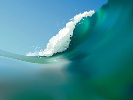 olas de mar: Ilustraci�n vectorial de una onda de gran oc�ano Vectores