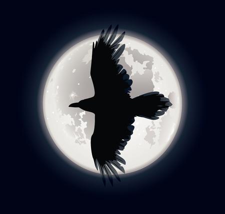 cuervo: Ilustraci�n vectorial de una silueta cuervos en lunas fondo