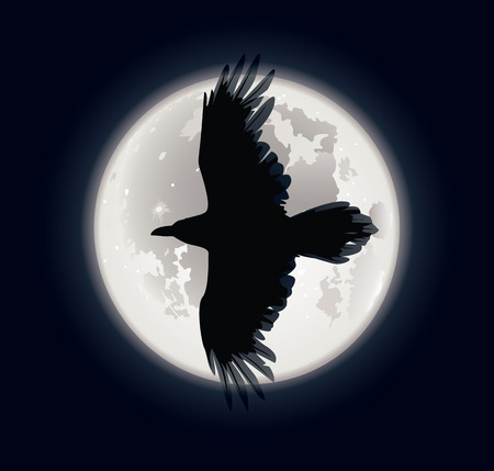 Vector illustration of a crows silhouette on moons background