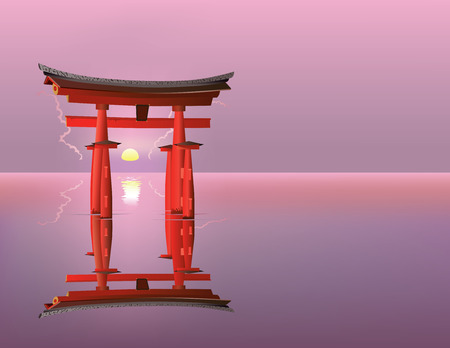 torii: Vector illustration of sacred Japanese gates Torii