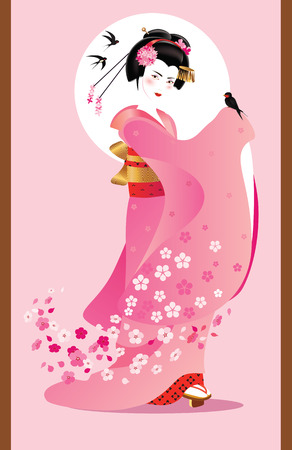 Vector illustration of young Japanese woman in traditional clothes as season symbol. Illustration