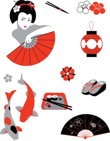koi fish art: JapaVector illustration of objects related to Japanese culturenese set Illustration