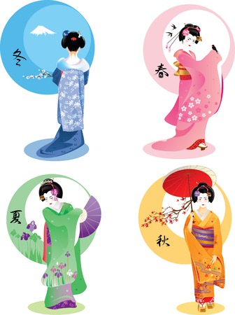 Vector illustration of young Japanese woman in traditional clothes as season symbol. Çizim