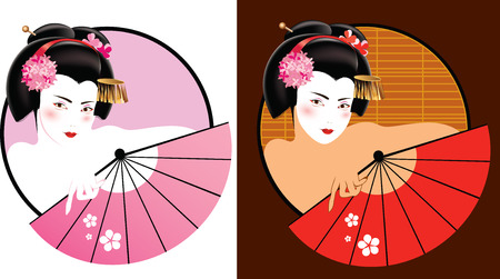Vector illustration of young geisha with fan
