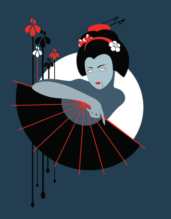 Vector illustration of vampire geisha with fan