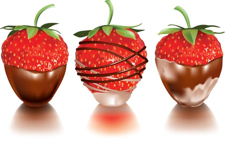 strawberry chocolate: Vector illustration of strawberry dropped into liquid milk or chocolate
