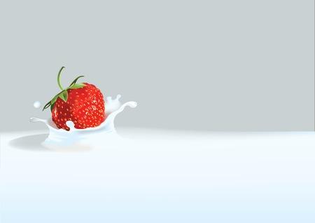 Vector illustratie van aardbei gedaald in vloeibare melk of chocolade