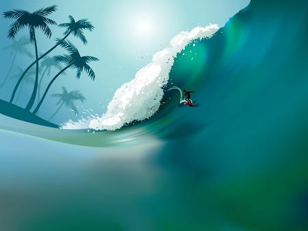Vector illustratie van een grote oceaan golf