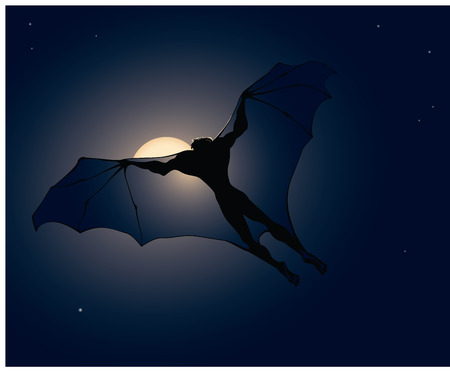 moons: Vector illustration of flying vampire on moons background