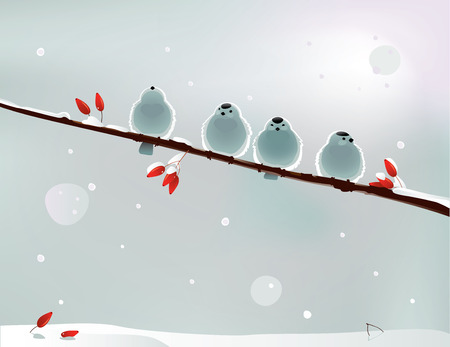 Vector illustration of several birds on a branch in wintertime
