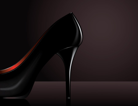 laquered: Vector illustration of a black high heel on dark background
