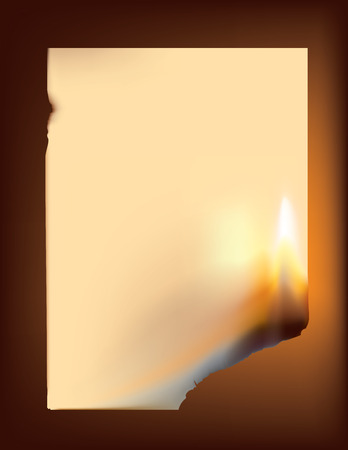 burning letter: Vector illustration of an empty sheet of paper burning from one corner