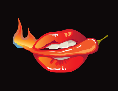 Vector illustration of womans mouth holding hot red pepper fruit in teeth Illustration